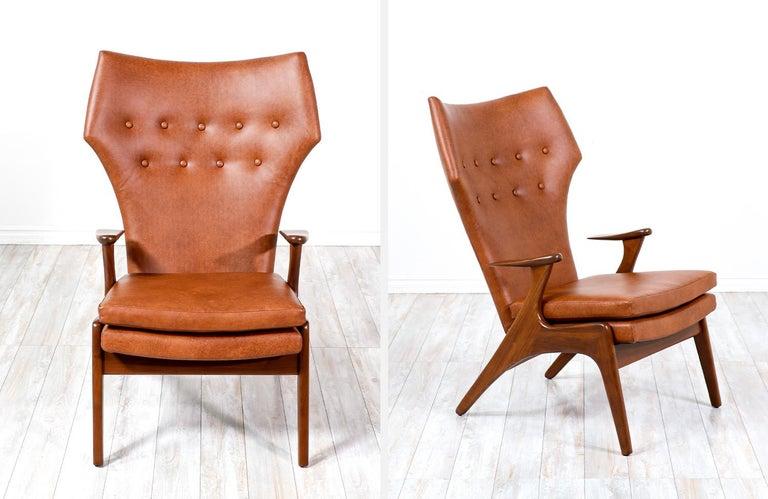 Kurt Østervig Cognac Leather Wing Chairs for Rolschau Møbler For Sale 5
