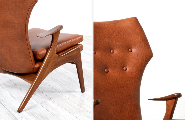 Kurt Østervig Cognac Leather Wing Chairs for Rolschau Møbler For Sale 6