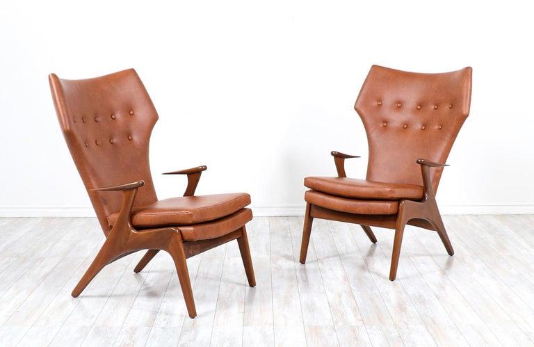 Mid-Century Modern Kurt Østervig Cognac Leather Wing Chairs for Rolschau Møbler For Sale