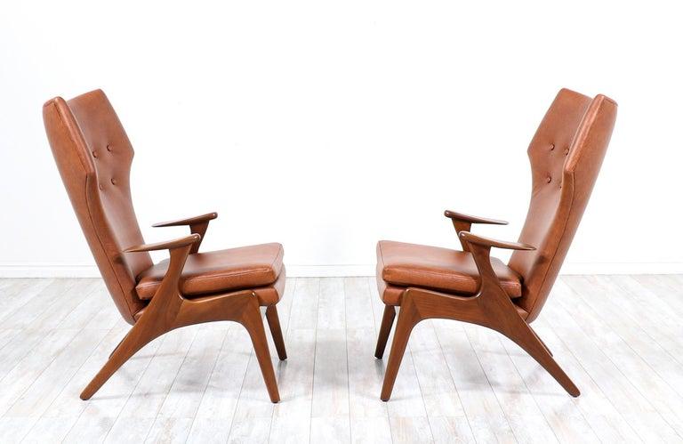 Danish Kurt Østervig Cognac Leather Wing Chairs for Rolschau Møbler For Sale