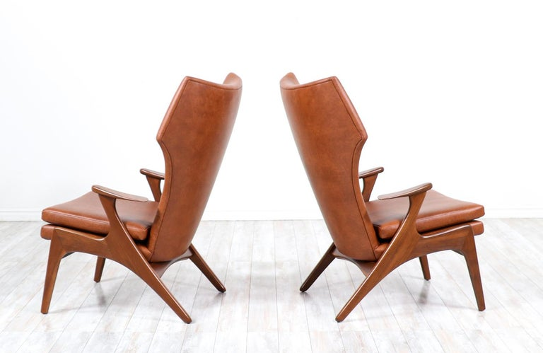 Kurt Østervig Cognac Leather Wing Chairs for Rolschau Møbler In Excellent Condition For Sale In Los Angeles, CA