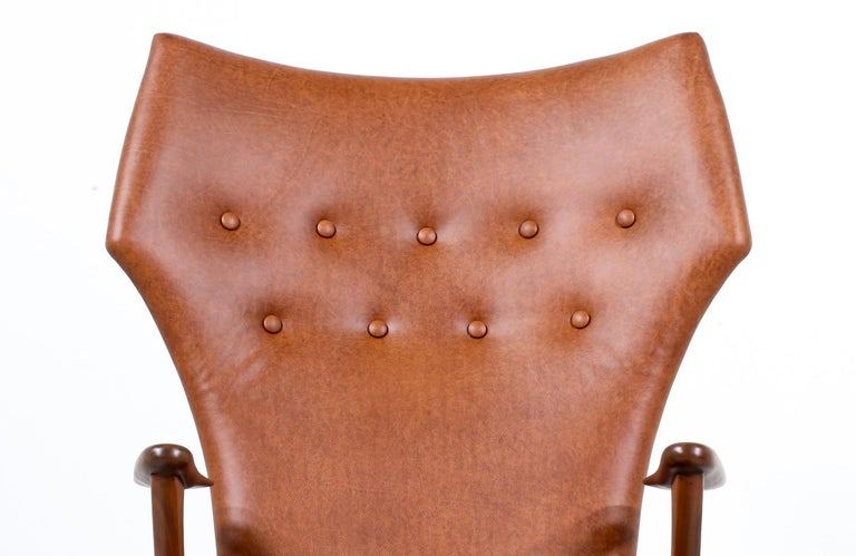 Mid-20th Century Kurt Østervig Cognac Leather Wing Chairs for Rolschau Møbler For Sale