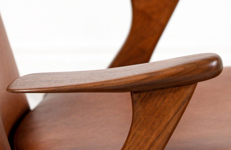Kurt Østervig Cognac Leather Wing Chairs for Rolschau Møbler For Sale 1