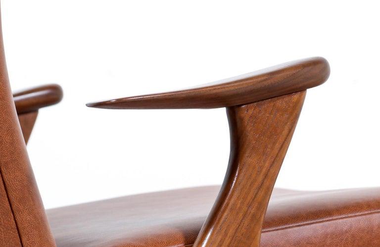 Kurt Østervig Cognac Leather Wing Chairs for Rolschau Møbler For Sale 2