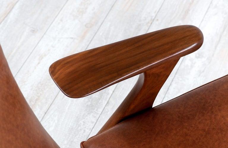Kurt Østervig Cognac Leather Wing Chairs for Rolschau Møbler For Sale 3