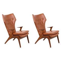 Kurt Østervig Cognac Leather Wing Chairs for Rolschau Møbler