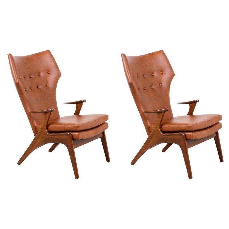 Kurt Østervig Cognac Leather Wing Chairs for Rolschau Møbler For Sale