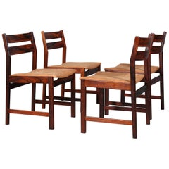 Kurt Østervig, Four Dining Chairs in Rosewood and Cognac Aniline Leather