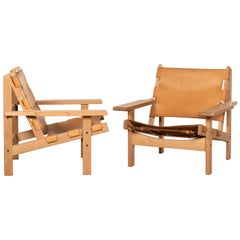 Kurt Østervig Hunting Chairs in Cognac Leather for K. P. Jørgensens Møbelfabrik