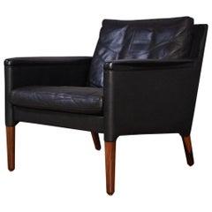 Kurt Østervig Model 55 Black Leather & Rosewood Lounge Chair for Centrum Mobler