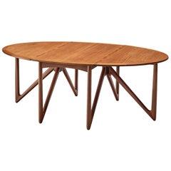 Kurt Østervig Oval Drop-Leaf Table in Teak