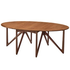 Kurt Østervig Oval Drop-Leaf Table in Teak