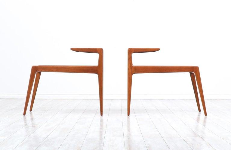 Mid-Century Modern Kurt Østervig Sculpted Teak Side Tables for Jason Møbler For Sale