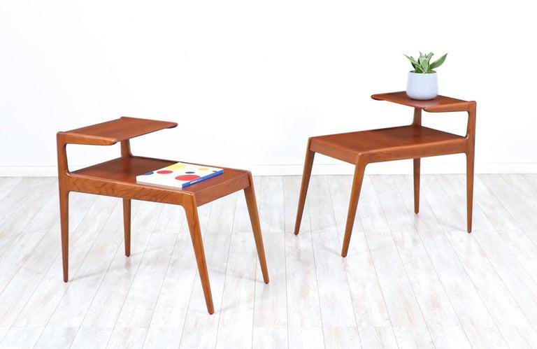 Kurt Østervig Sculpted Teak Side Tables for Jason Møbler In Excellent Condition For Sale In Los Angeles, CA