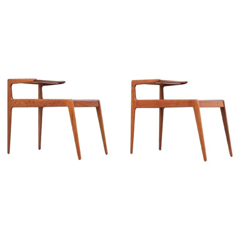 Kurt Østervig Sculpted Teak Side Tables for Jason Møbler For Sale