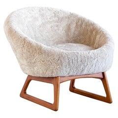 Kurt Østervig Sheepskin Lounge Chair, Model 57A, Rolschau Møbler, Denmark, 1958