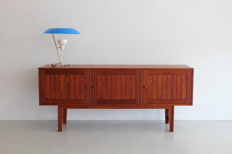 Fantastic Danish sideboard with vertical detailing - felt lined drawers and adjustable shelves. 