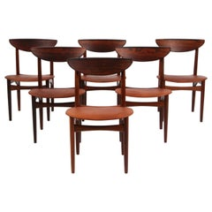 Kurt Østervig, Six Dining Chairs in Rosewood and Cognac Aniline Leather