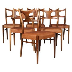 Kurt Østervig, Six Dining Chairs in Teak and Beech Cognac Aniline Leather