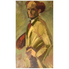 Kurt Thorsén, Sweden, Oil on Canvas, Self Portrait of the Artist, Dated 1943