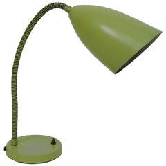 Kurt Versen Mid-Century Modern Chartreuse Cone Gooseneck Desk Lamp