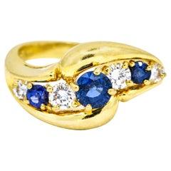 Kurt Wayne 1.10 Carat 18 Karat Yellow Gold Sapphire Diamond Ring