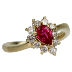 Kurt Wayne 18 Karat Gold, Ruby, and Diamond Cocktail Ring