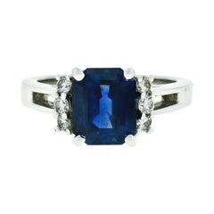 Kurt Wayne 18k Gold 3.12ct AGL Emerald Cut Blue Sapphire & Round Diamond Ring