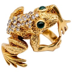 Kurt Wayne 1960s Gold Diamond Frog Ring