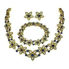 Kurt Wayne 25.00ct Diamond 14.50ct Sapphire Gold Jewelry Set