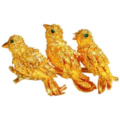 Kurt Wayne Authentic Three Birds Pin 18 Karat Brooch