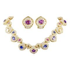 Kurt Wayne Diamond and Multicolored Sapphire Gold Earrings and Necklace Set