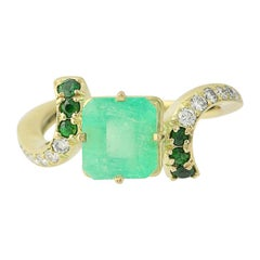 Kurt Wayne Emerald, Tsavorite Garnet, & Diamond Bypass Ring, 18k Gold 2.98 Carat