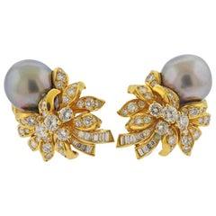 Kurt Wayne Gold Diamond South Sea Tahitian Pearl Earrings
