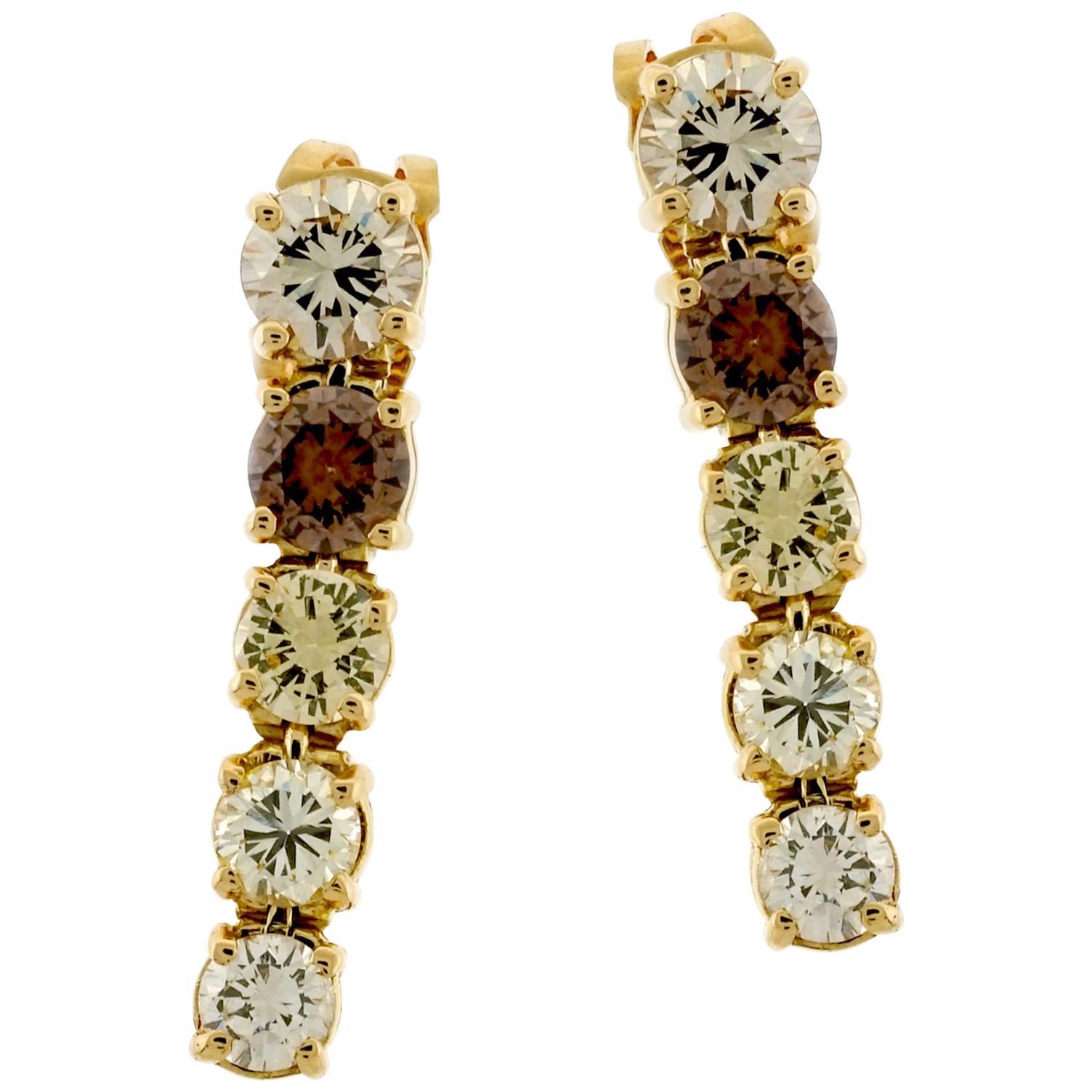 Kurt Wayne Multicolored Diamond Drop Earrings in 18 Karat Yellow Gold