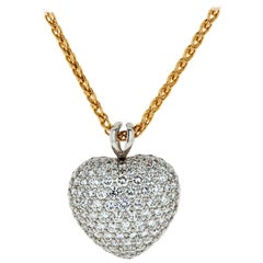Kurt Wayne Platinum & 18k Yellow Gold 5.50 Carat Diamond Heart Pendant Necklace