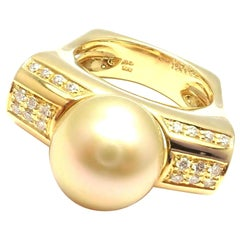 Kurt Wayne South Sea Golden Pearl Diamond Yellow Gold Ring