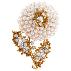Kurt Wayne Vintage Diamond Pearl 18 Karat Flower Brooch Pin