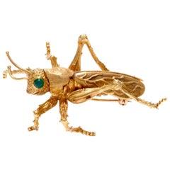 Kurt Wayne Vintage Grasshopper Yellow Gold Pin Brooch