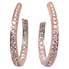 Kurt Wayne White Gold Hoops with .77 Carat Diamonds