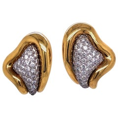 Kurt Wayne Yellow Gold and Diamond Pave Earrings