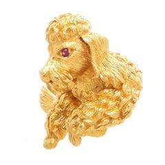 Kurt Wayne Yellow Gold and Gem Set Whimsical Poodle Dog Ring