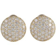 Kurt Wayne Yellow Gold Button Diamond Earrings