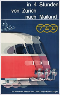 Trans Europ Express – Original Poster promoting the service from Zurich to Milan