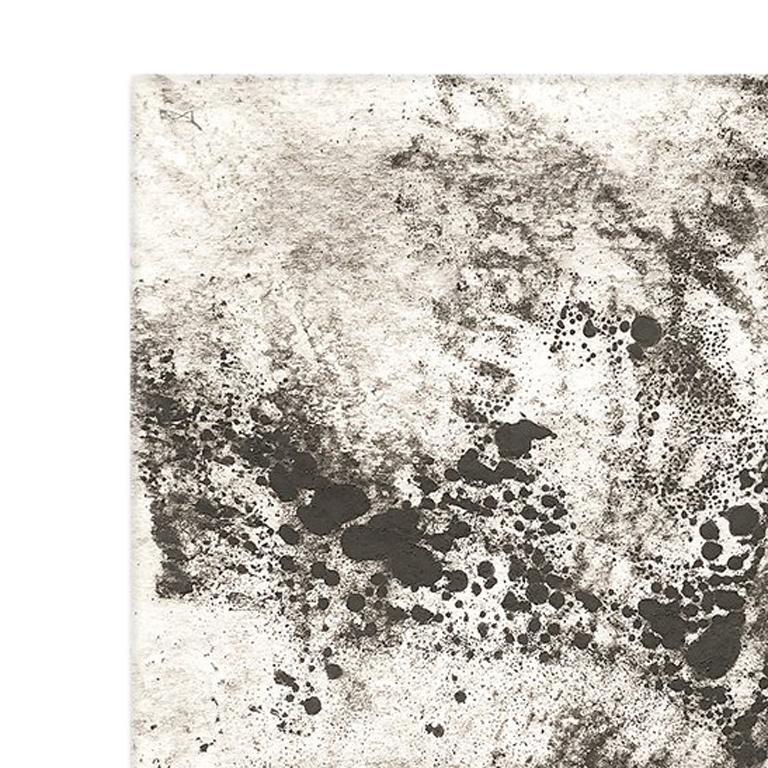 Ash Ceniza #12, (black and white, ashes, abstract expressionist, charcoal) - Painting by Kurtis Brand