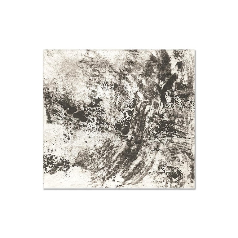 Kurtis Brand Abstract Painting - Ash Ceniza #12, (black and white, ashes, abstract expressionist, charcoal)