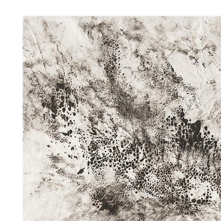 Ash Ceniza #15, (black and white, ashes, abstract expressionist, charcoal) - Painting by Kurtis Brand