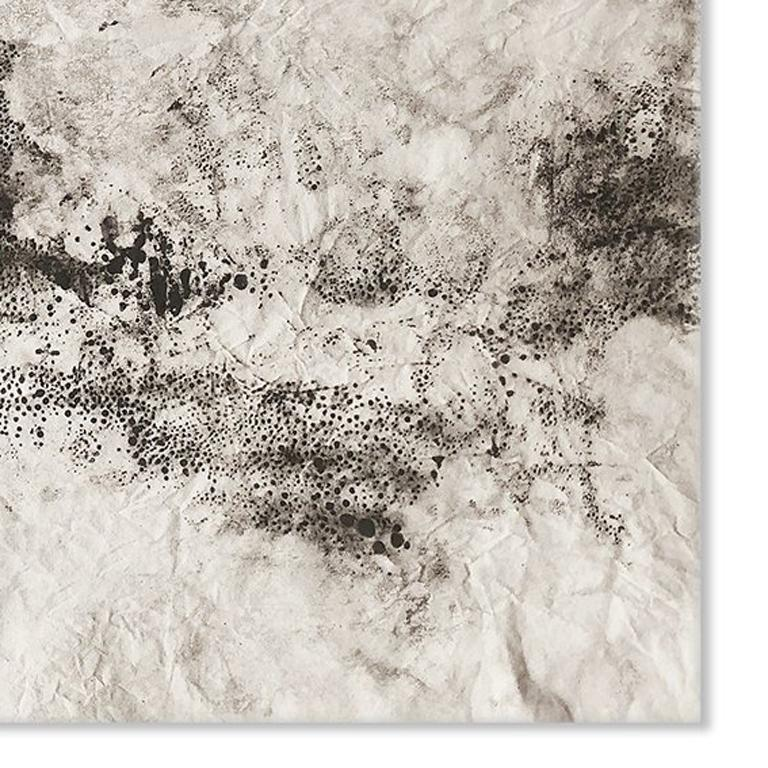 Ash Ceniza #15, (black and white, ashes, abstract expressionist, charcoal) - Abstract Painting by Kurtis Brand