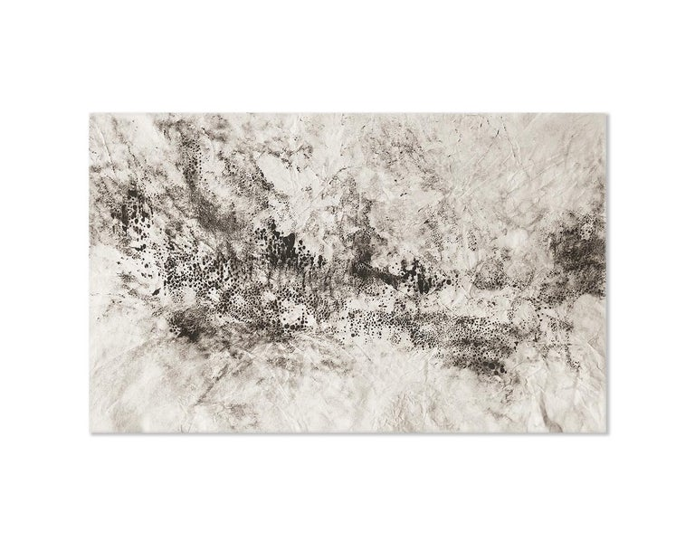 Kurtis Brand Abstract Painting - Ash Ceniza #15, (black and white, ashes, abstract expressionist, charcoal)