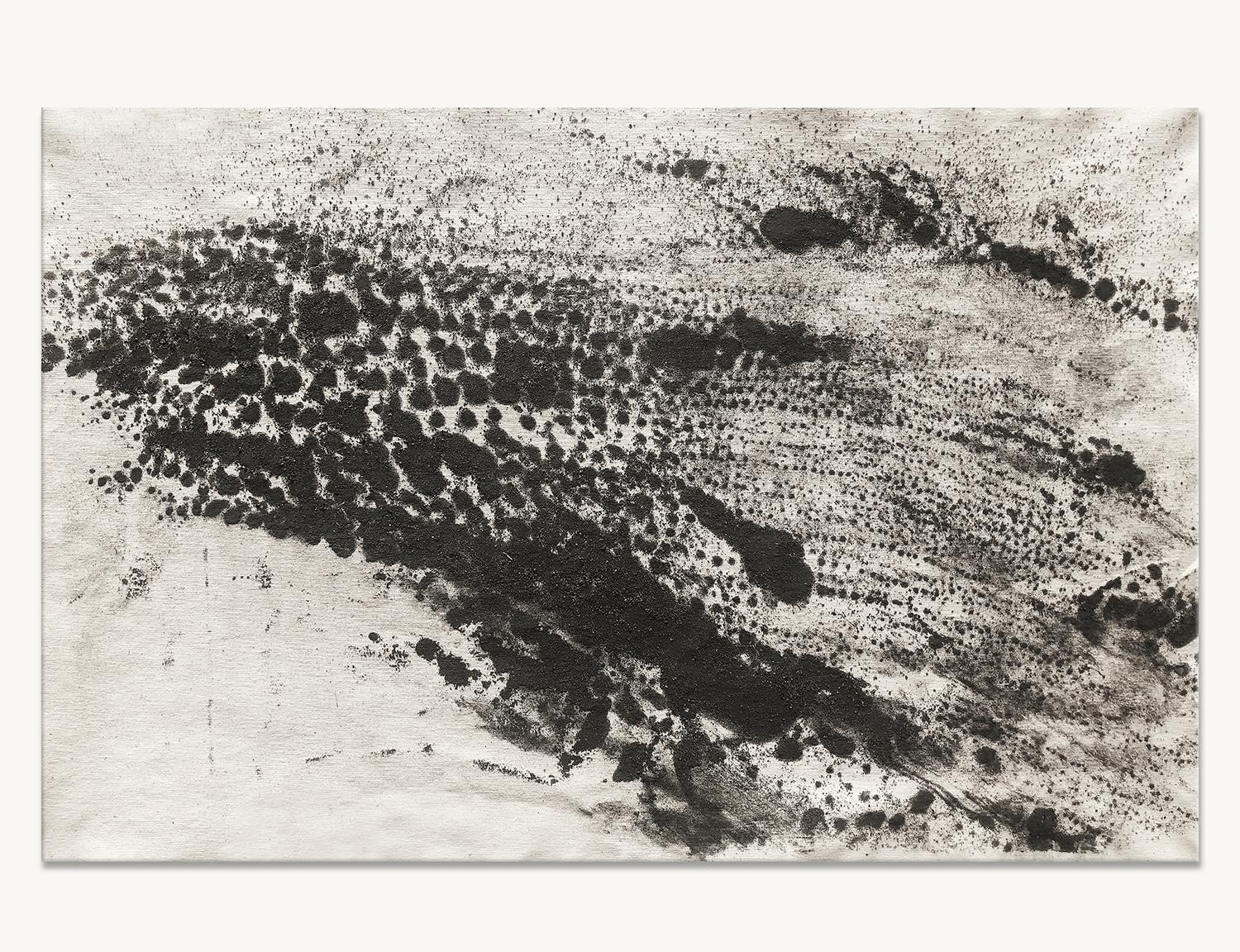Ash Ceniza #7, (drawing, black and white, abstract, expressionist, ashes, paper)
